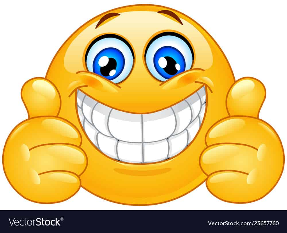 Emoticon with big toothy smile showing thumbs up
